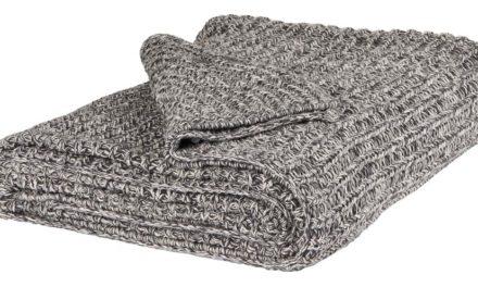 IB LAURSEN Plaid mørkegrå/hvid melange strikket