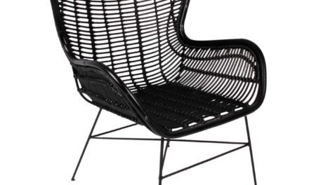 Hilton spisebordsstol, sort rattan