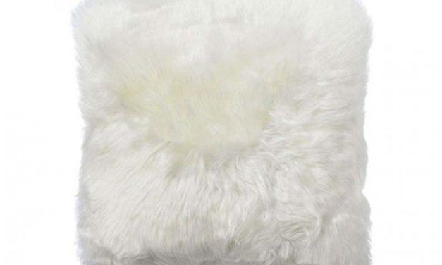 New Zealand lammeskinds pude, hvid, 50cm.