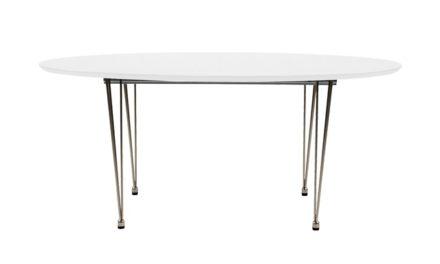 Belina spisebord – Hvid træ, metalstel, ovalt, incl. 2 tillægsplader, (170×100)