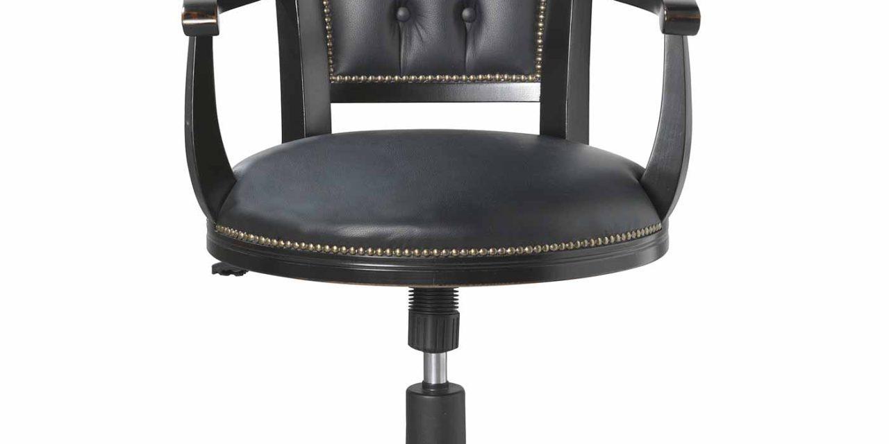 Skipper skrivebordsstol – sortlakeret træ/sort læder, m. hæve/sænke funktion