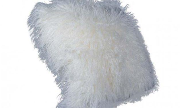 Tibetan lammeskinds pude, hvid, 40cm.