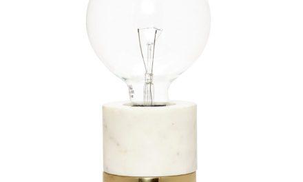 HÜBSCH Bordlampe i marmor/messing, hvid