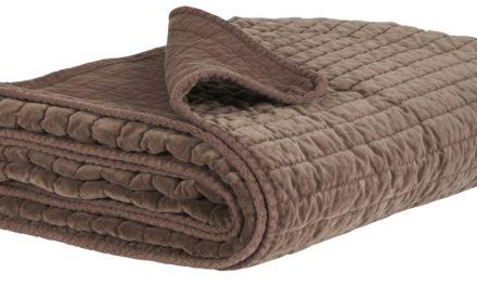 IB LAURSEN Quilt sengetæppe – Chokoladefarvet velour