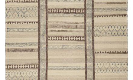 IB LAURSEN Gulvtæppe m/brunt og blåt tryk håndprintet bomuld