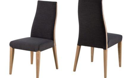 Bianca spisebordsstol – gråt stof, egetræsben