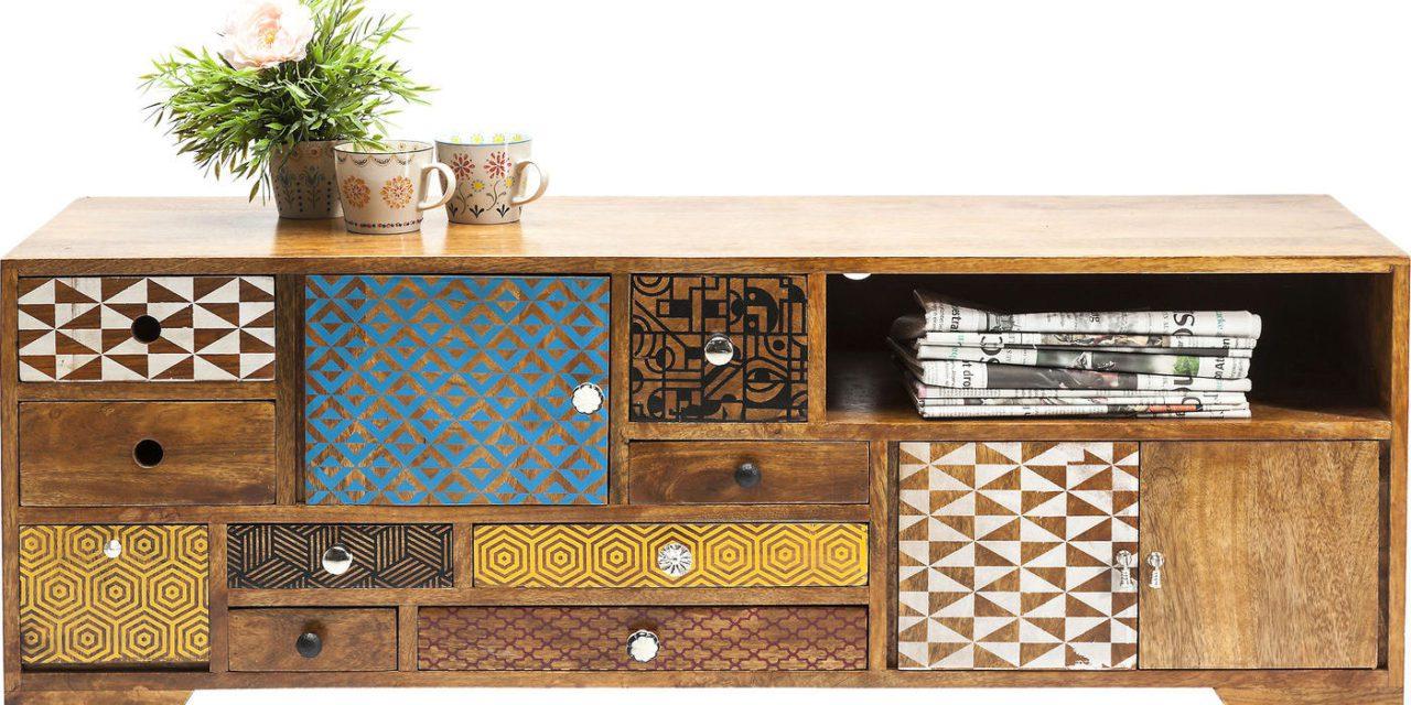 KARE DESIGN soleil TV-bord i træ – flerfarvet retrostil