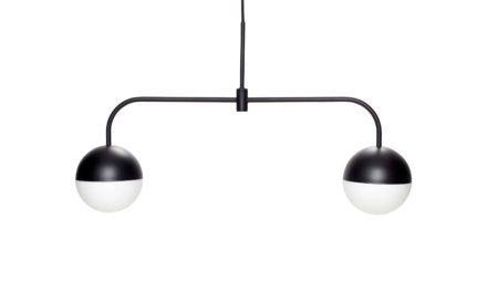 HÜBSCH loftlampe – sort/opal hvid, metal/glas