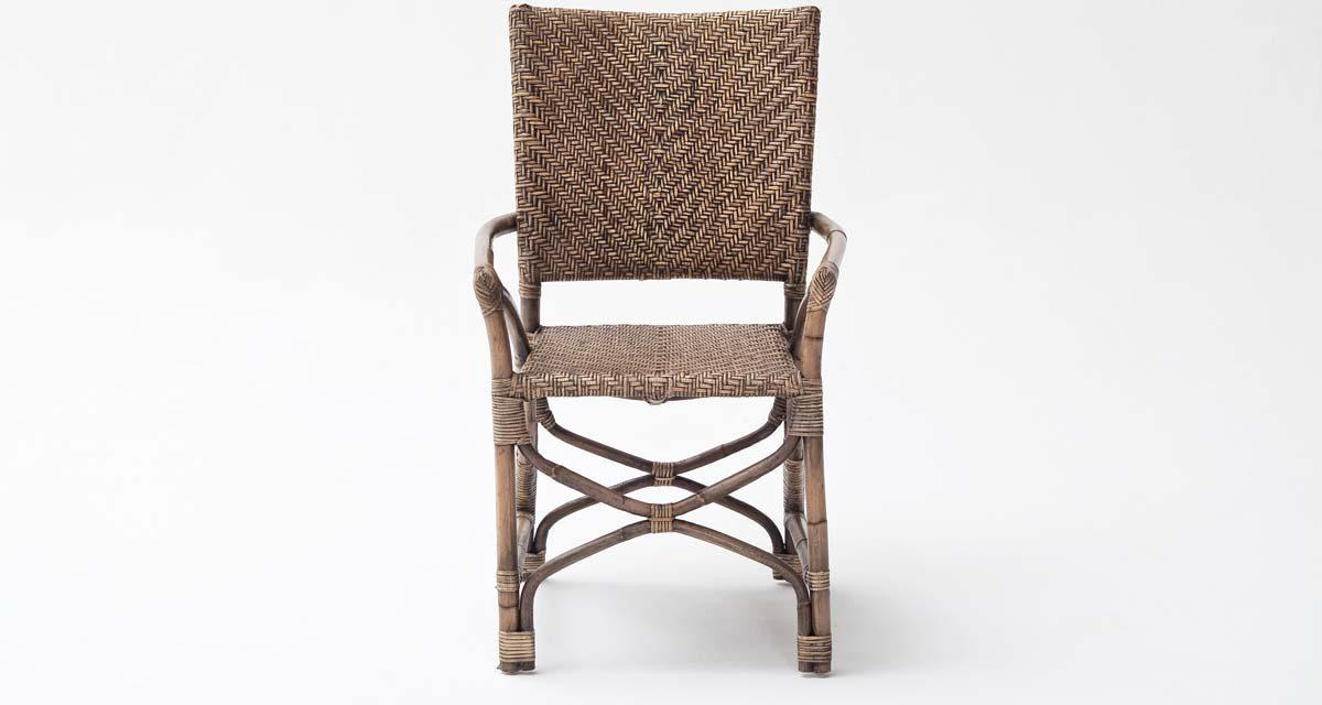 NOVASOLO Wickerworks Countess Spisebordsstol med Armlæn, Flet, Rattan