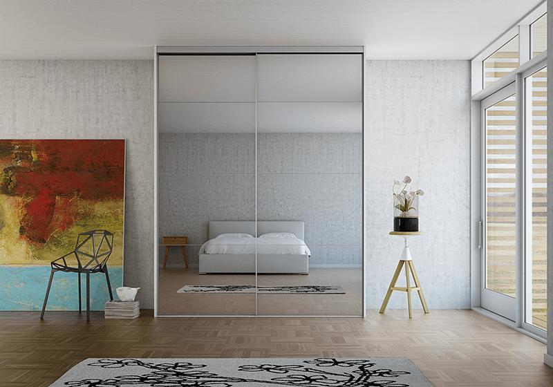 DecoSlide skydedøre med spejl i flot spejl og aluminium