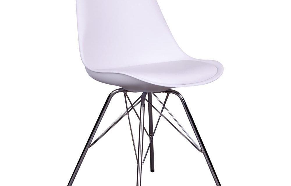 HOUSE NORDIC Oslo spisebordsstol i hvid med krom ben