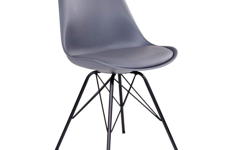 HOUSE NORDIC Oslo spisebordsstol i grå med sorte ben