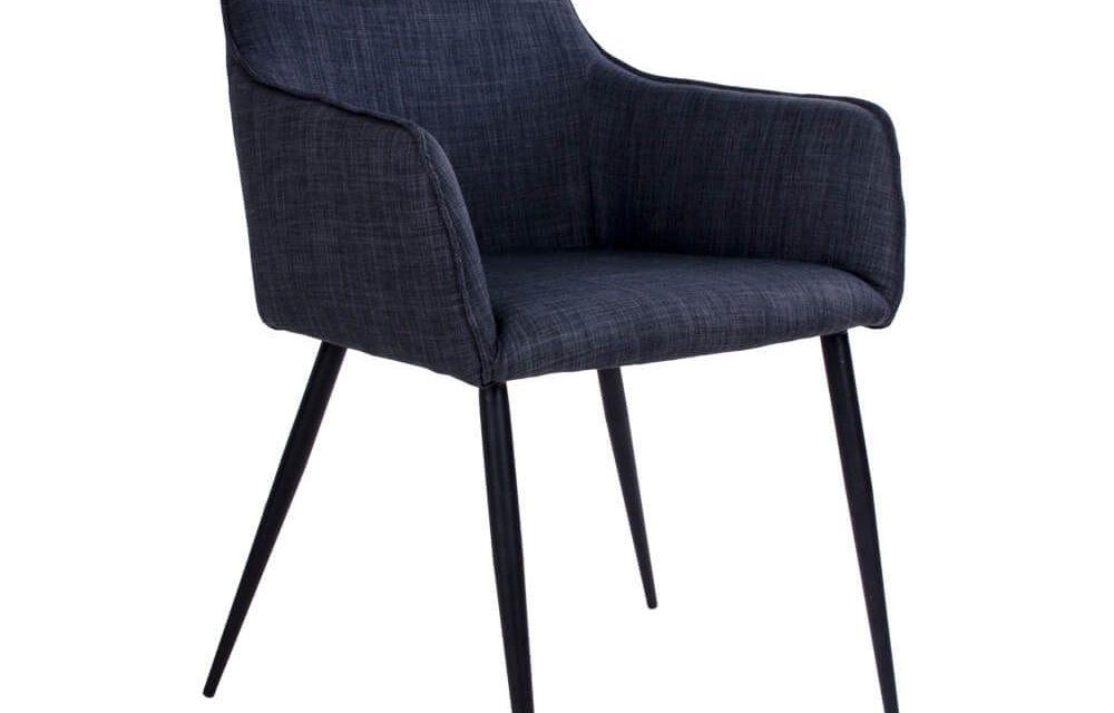 HOUSE NORDIC Harbo spisebordsstol med armlæn i mørkegråt stof