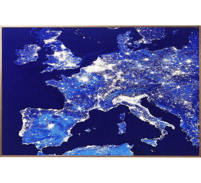 KARE DESIGN Billede, Frame Alu Europe At Night 60 x 90 cm