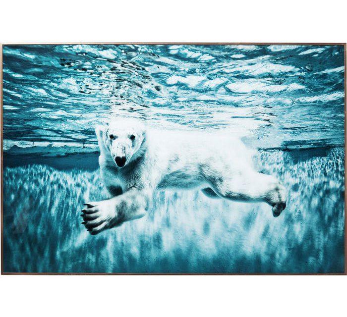 KARE DESIGN Billede, Frame Alu Swimming Polar Bear 80 x 120 cm