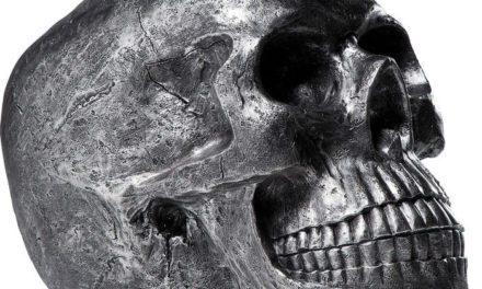 KARE DESIGN Figur, Head Skull Sølv Antique