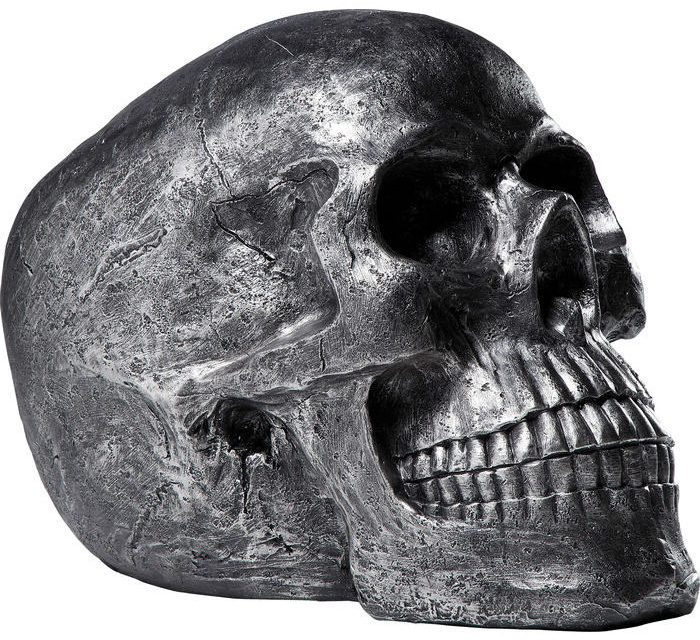 KARE DESIGN Figur, Head Skull Sølv Antique