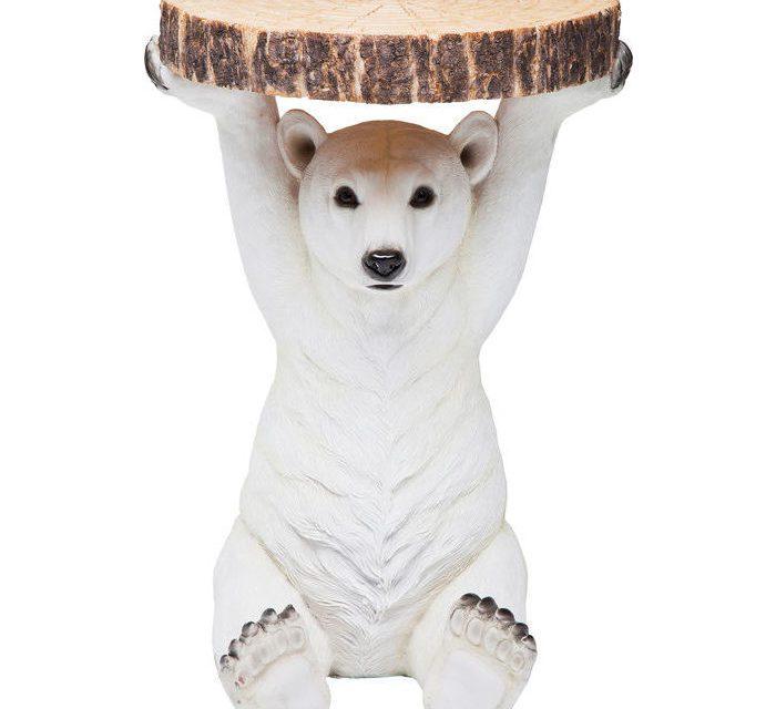 KARE DESIGN Sidebord, Animal Polar Bear Ø37cm