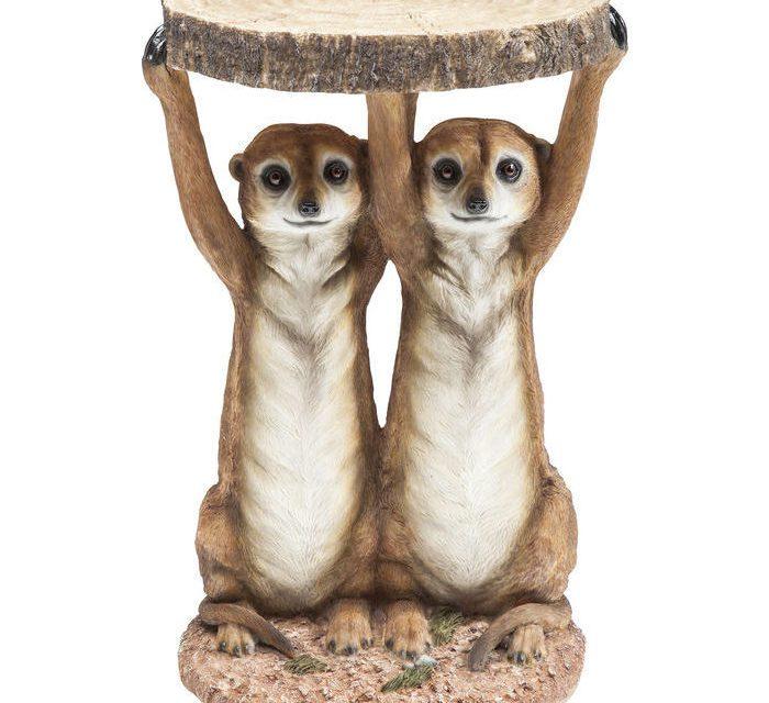 KARE DESIGN Sidebord, Animal Meerkat Sisters Ø33c