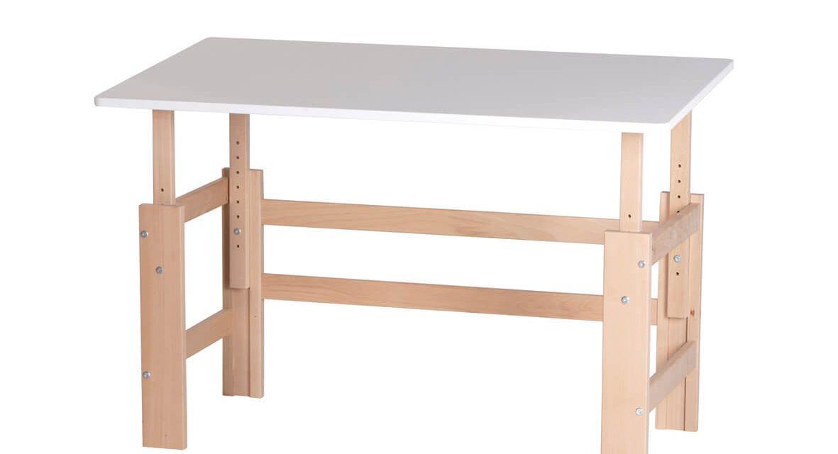 Fantastisk justerbart skrivebord i massiv bøg fra brandet Manis-H