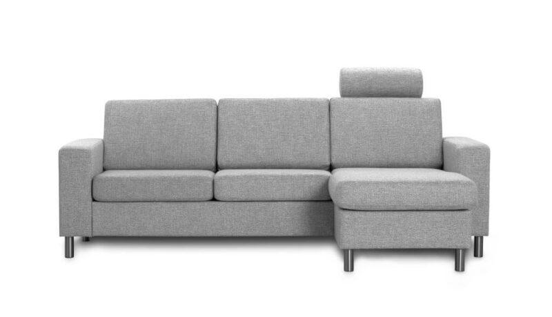 Pisa 3 pers. sofa – lys granitgrå stof, m. vendbar chaiselong