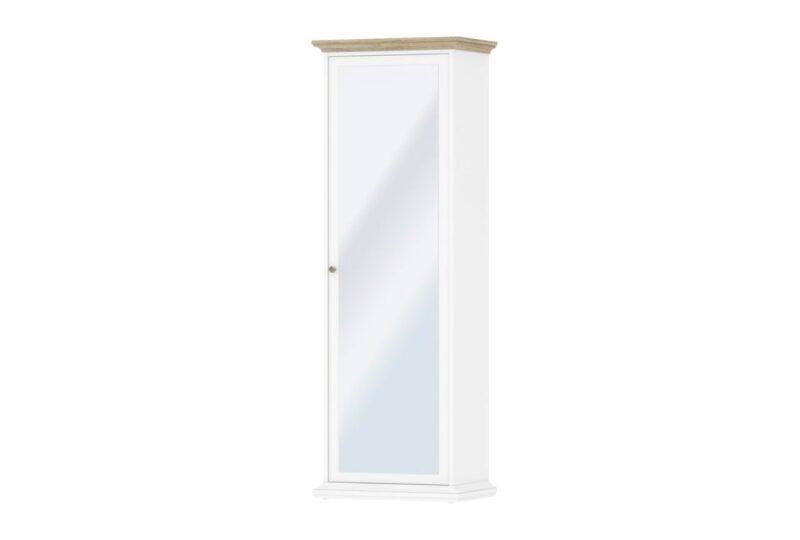 Paris garderobeskab med spejl – hvid/eg