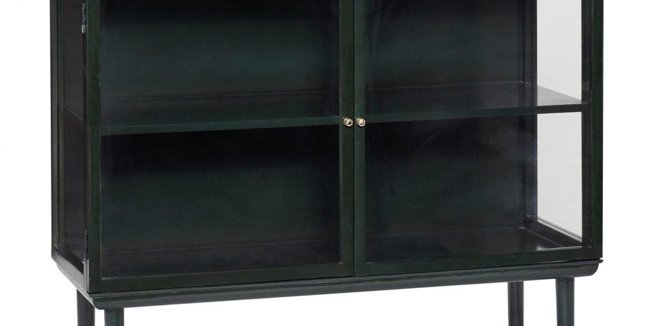 HÜBSCH vitrineskab, lav, mørk grøn