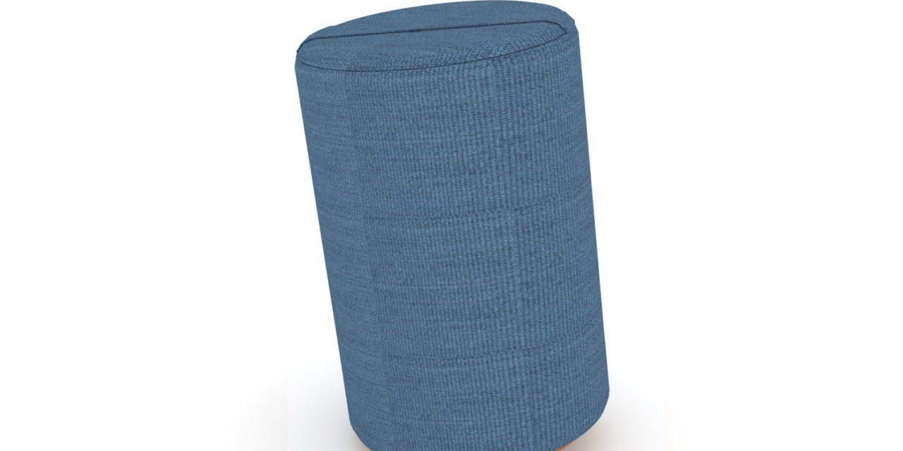 JENSENPLUS K2 puf, ergonomisk, Blå, Underlag: massiv kork, tekstil
