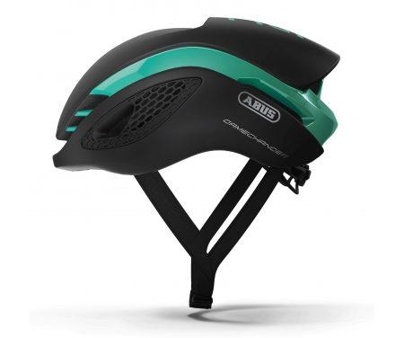 Abus GameChanger – Aero cykelhjelm – Sort / celeste grøn
