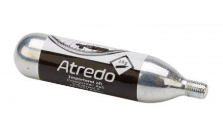 Atredo  – CO2 Patron – 25 gram – Med gevind – Til co2 cykelpumpe – Blank