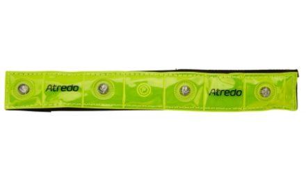 Atredo – Refleksbånd med 4 LED lys – Med velcro – Gul