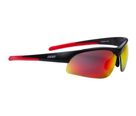 BBB Impress BSG-58  – Løbe- og cykelbrille – 3 sæt linser – Matsort/rød