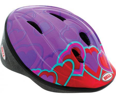 Bell Bellino – Cykelhjelm – Lilla/Røde hjerter