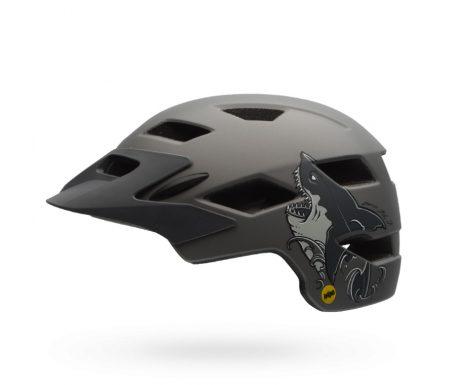 Bell Sidetrack Junior Mips – Cykelhjelm – Str. 50-57 cm – Mat Titan med Hajmotiv