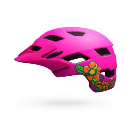 Bell Sidetrack Junior Mips – Cykelhjelm – Str. 50-57 cm – Pink med Blomster