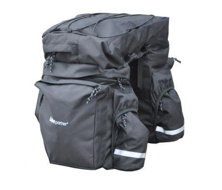 BikePartner – Caroline – Cykeltaske til bagagebærer -Sort – 3 delt 40 liter