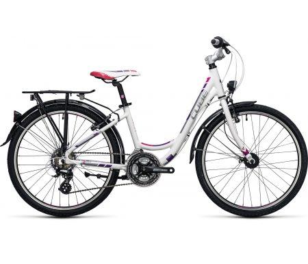 "Cube Kid 240 Street – 24"" cykel – 21 gear – Hvid/lilla/pink"