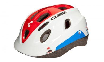 Cube Kids Teamline børnecykelhjelm – Hvid/rød/blå – Str. 48-52