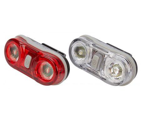 D.Light CG405 – Lygtesæt  med batteri – 2 LED – 3 funktioner – Med klik beslag