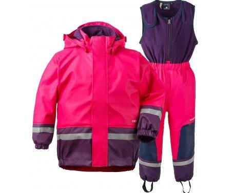 Didriksons Boardman Kids Set – Fleeceforet regntøj – Pink