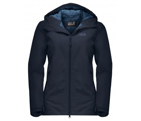 Jack Wolfskin Chilly Morning JKT W. – Vandtæt damejakke m. for – Mørke Blå