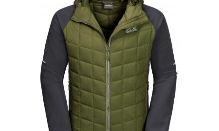 Jack Wolfskin Grassland Hybrid Hood – Fiberjakke herre – Grøn/Grå