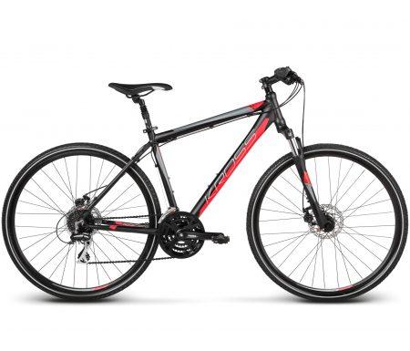 Kross Evado 3.0 – Citybike – Herre – 24 gear – Matsort/rød