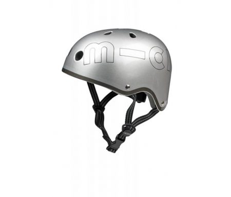 Micro Mini Cykelhjelm – Sølv – Str. 53-58 cm – Skater med hård skal