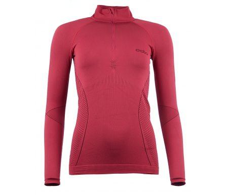 Odlo 1/2 zip Evolution warm – Langærmet bluse til dame – Bordeaux