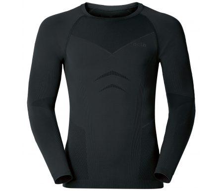 Odlo herre langærmet shirt – Crew Neck Evolution Warm – Sort/grå