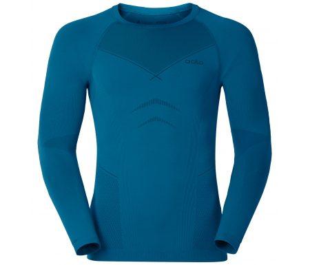 Odlo langærmet bluse – Herre – Crew Neck Evolution Warm – Sort/blå