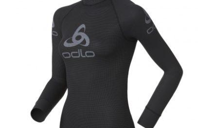 Odlo Shirt L/S Crew Neck Logo Line – Løbebluse til dame – Sort/grå