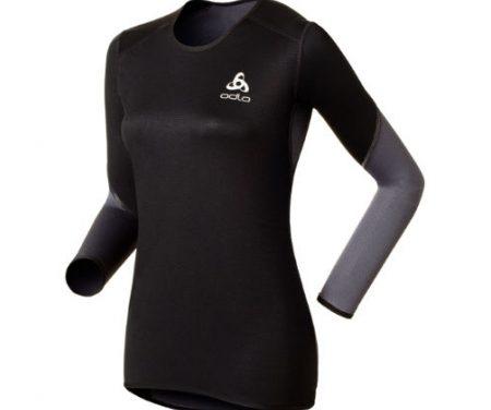 Odlo Shirt l/s Crew Neck – Vindtæt løbebluse – Dame – Sort/grå