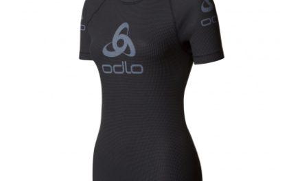 Odlo Shirt S/S Crew Neck Logo Line – Løbe t-shirt til dame – Sort/grå
